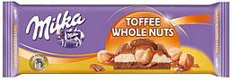 Молочна шоколадка Мілка з карамеллю і цільними лісовими горіхами 300 грам
