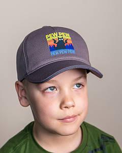 Кепка на весну-літо для хлопчика темно-сіра оптом - PEW PEW
