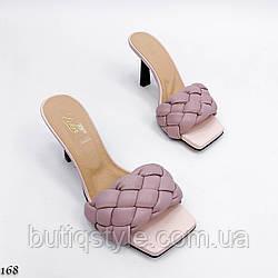 39 размер Женские розовые плетеные шлепки натуральная кожа на каблуке
