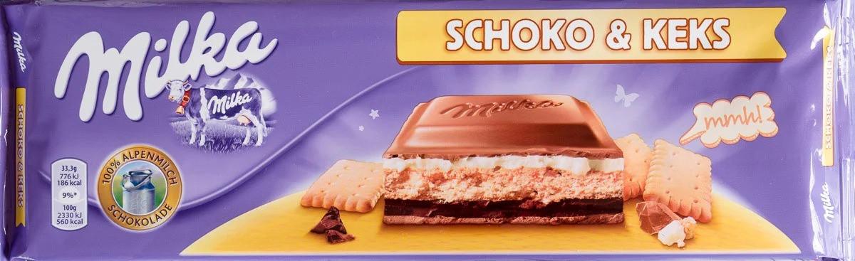 Milka велика шоколадка з печивом Schoko & Keks 300 грам
