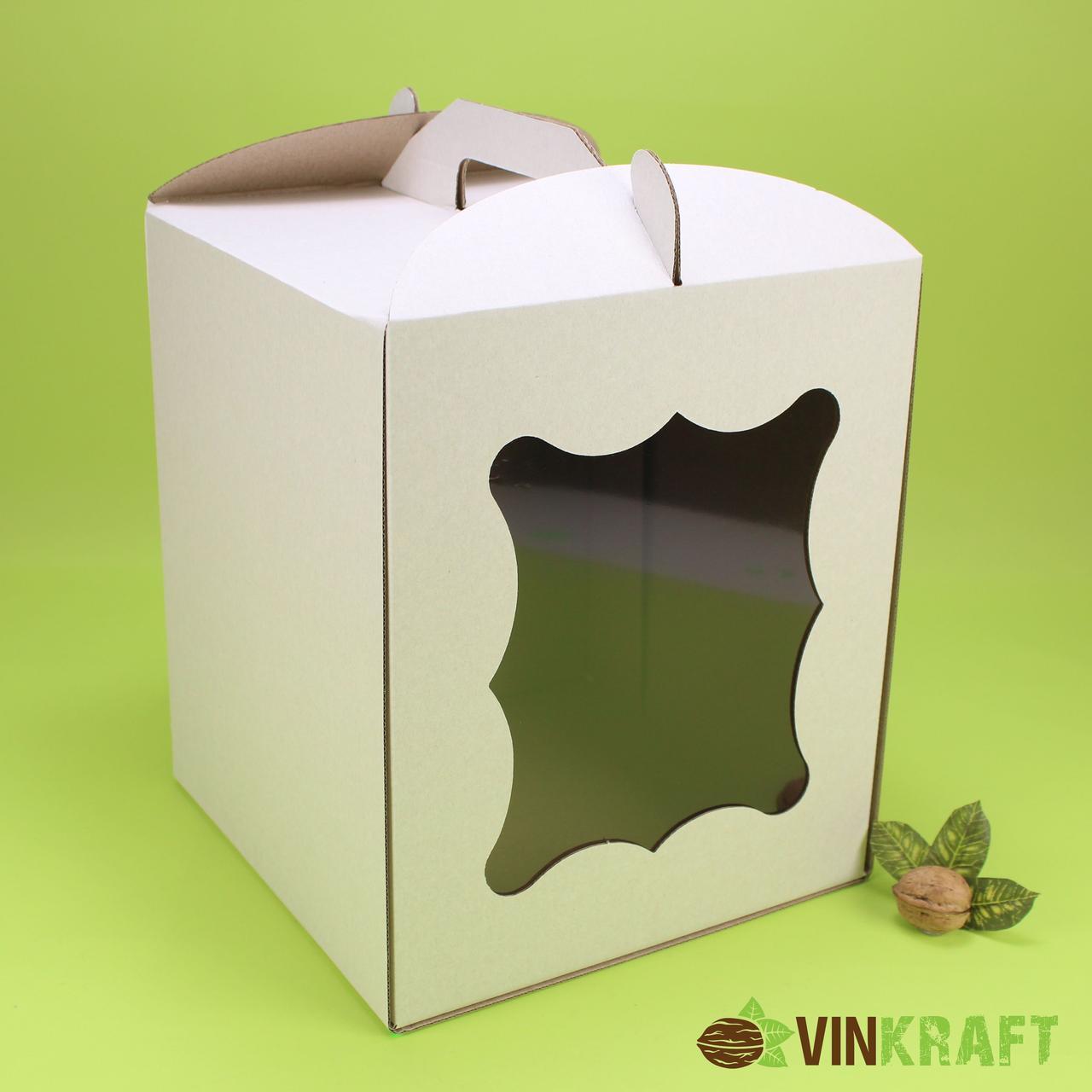 Коробка 250*250*300  для торта с окном, гофракартон