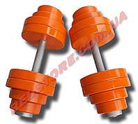 Гантели наборные 2 по 32 кг металлические с полимерным покрытием (общий вес 64 кг) разборные, фото 1