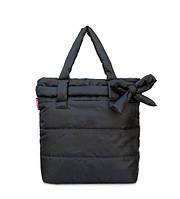 Сумка женская дутая POOLPARTY Puffy Eco Bags с бантом чёрная, фото 1