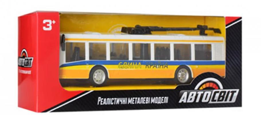 Троллейбус детский игрушечный. Длинна троллейбуса 17 см (Yellow), фото 2