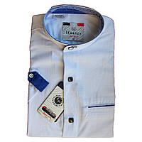 Біла сорочка з коротким рукавом комір стійка для хлопчика 134-158 зросту приталена на кнопках