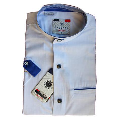 Біла сорочка з коротким рукавом комір стійка для хлопчика 134-158 зросту приталена на кнопках, фото 2