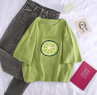 Женская хлопковая футболка LEMON зеленая