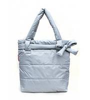 Сумка женская дутая POOLPARTY Puffy Eco Bags с бантом серая, фото 1