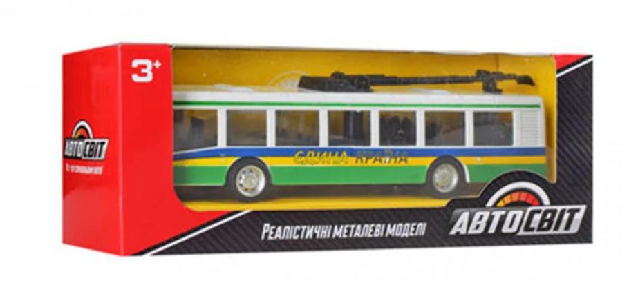 Тролейбус дитячий іграшковий. Довжина тролейбуса 17 см (Green), фото 2