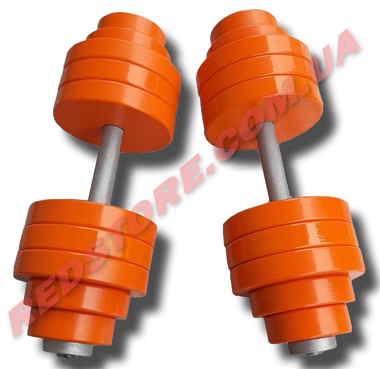 Гантели наборные 2 по 42 кг металлические с полимерным покрытием (общий вес 84 кг) разборные