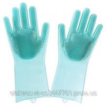 Силиконовые перчатки Magic Silicone Gloves Pink для уборки чистки мытья посуды для дома. Цвет: бирюзовый