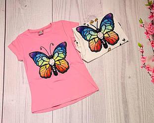 Мигающая футболка БАБОЧКА на девочку 5, 6, 7, 8 см, белый