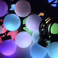 Уличная LED RGB гирлянда, длина 20 м, 50 многоцветных LED RGB шаров, с коннектором для удлинения цепи