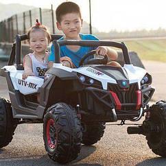 Дитячий електромобіль Джип M 3602EBLR-1 з колесами Eva, що відкривається дверима, шкіряними сидінням, 35W
