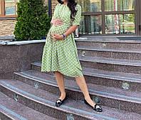Модное платье с секретом для беременных и кормящих оливка горох