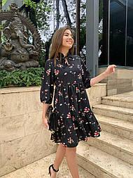Платье черное с цветочным принтом свободного кроя