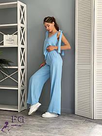 Летний женский костюм голубой с широкими брюками