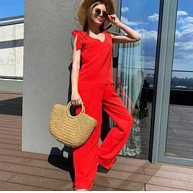 Женский летний костюм красный с широкими брюками
