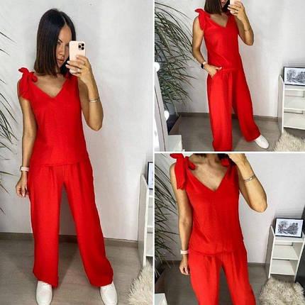 Жіночий літній костюм червоний з широкими брюками, фото 2