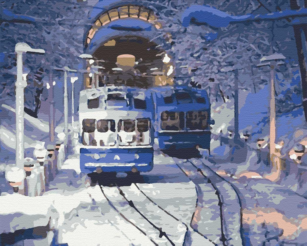 Картина по номерам города пейзаж киев 40х50 Киевский Фуникулер