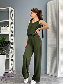 Женский летний костюм хаки с широкими брюками