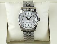 Женские Rolex Date just silver white ААА часы наручные на стальном браслете с календарем и сапфиром