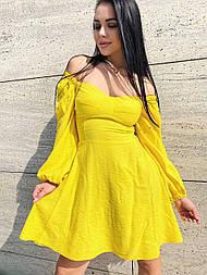 Платье приталенное с открытыми плечами жатый хлопок (в расцветках)