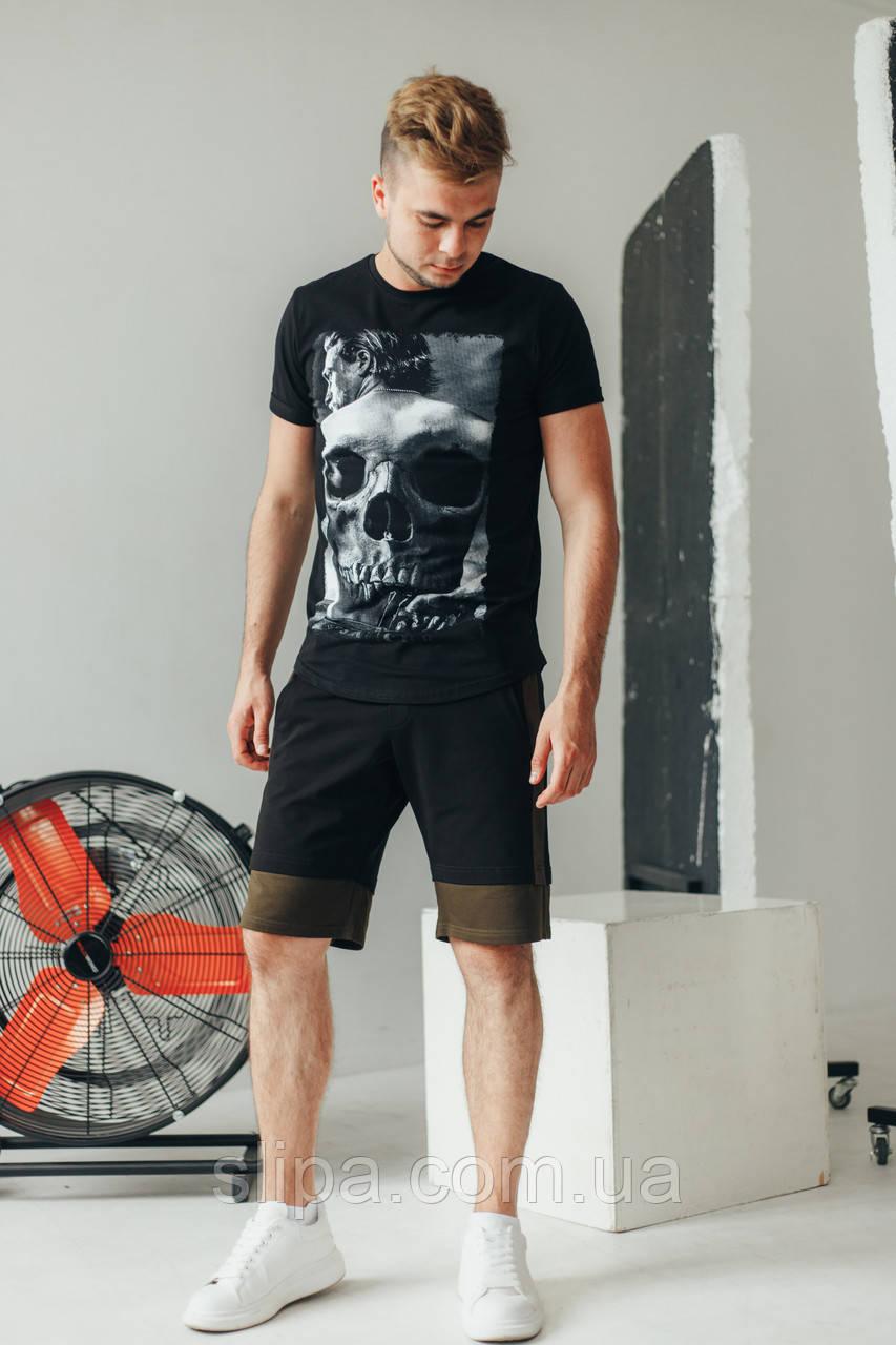 Чёрные мужские трикотажные шорты с вставками цвета хаки   трикотаж двухнить