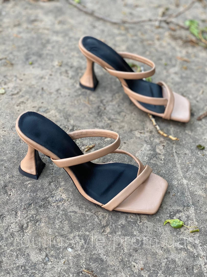 Женские шлепки карамель натуральная кожа на каблуке
