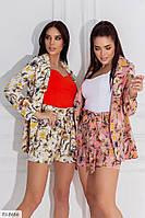 Женский трендовый красивый костюм короткие шорты и удлиненный пиджак с цветочным рисунком р-ры 42-44,46-48