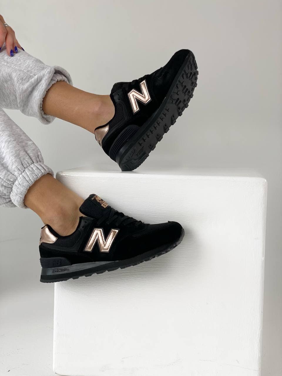 Женские кроссовки New Balance 574 Black Gold (Черные кроссовки Нью Баланс 574)