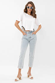Классная белая футболка с полукруглой вставкой по бокам с бусинками, размер S M L
