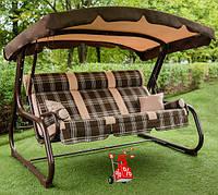 Садовые подвесные раскладные 3-х местная качели с навесом Релакс 180 для отдыха,качели для дачи,качели-лавочки
