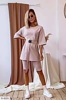 Костюм женский молодежный прогулочный летний шорты и туника-футболка с поясом арт 8354