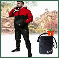 Спортивный костюм мужской демисезонный с капюшоном черный-красный, куртка анорак штаны + барсетка