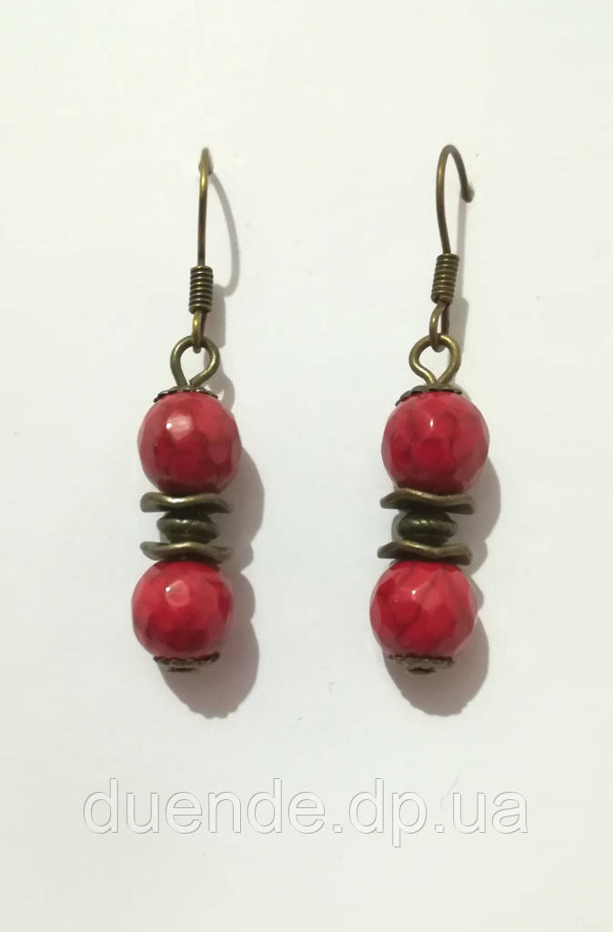 Серьги с Кораллом, натуральный камень, бронза, цвет красный, длина 4 см, тм Satori \ S - 0015