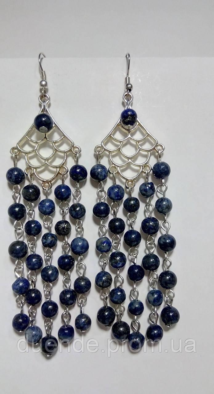 Сережки з Лазуриту, натуральний камінь, колір відтінки синього, тм Satori