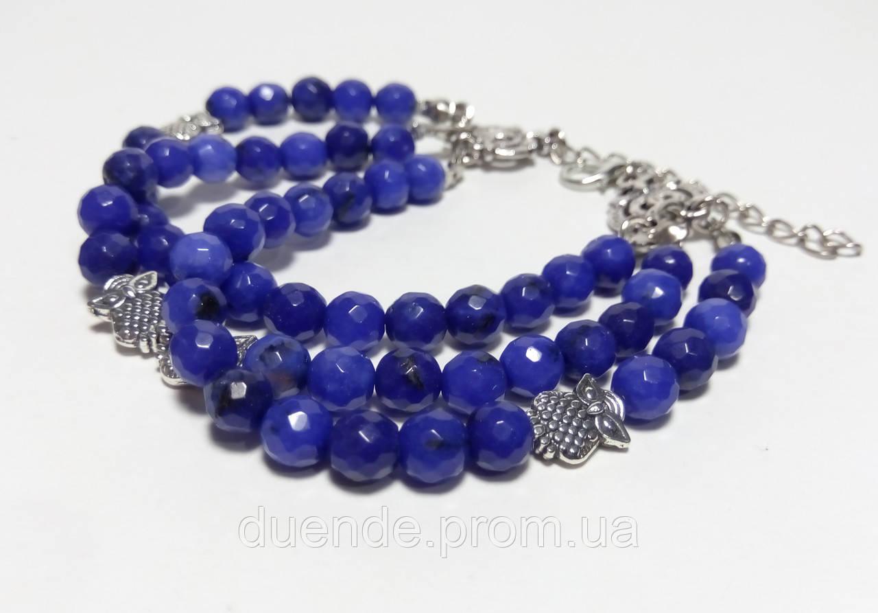 Браслет потрійний з Агата Совушки, натуральний камінь, колір синій, тм Satori \ Sb - 0056