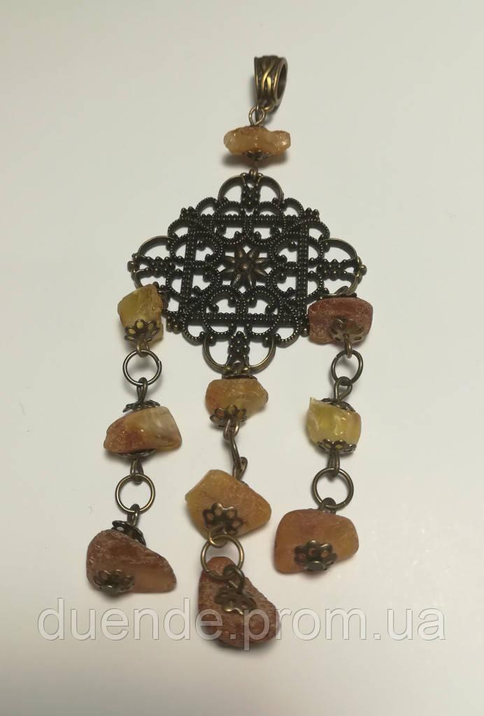 Кулон Янтарь, натуральный камень, подвеска (без цепочки), тм Satori