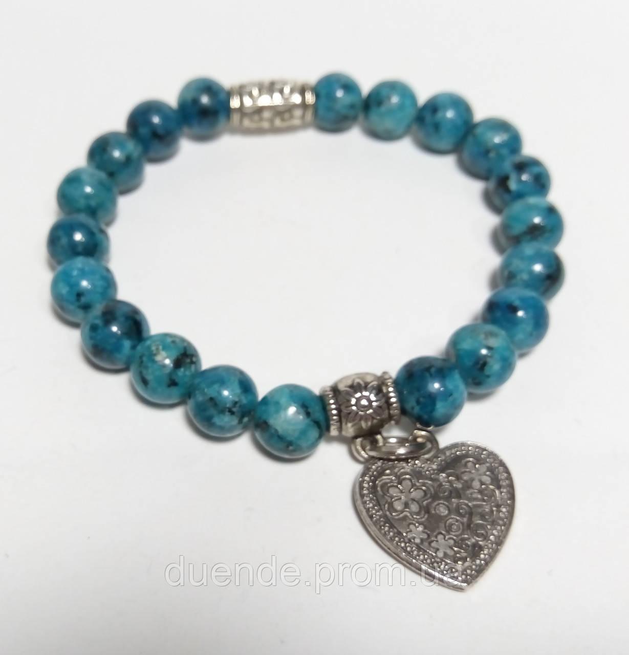 Браслет Яшма с подвеской, натуральный камень, цвет синий и его оттенки, тм Satori \ Sb - 0097