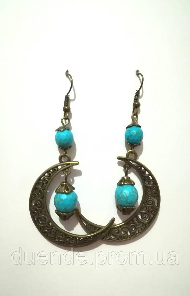 Сережки з натурального каменю Бірюза, бронза, колір відтінки блакитного, тм Satori \ S - 0259
