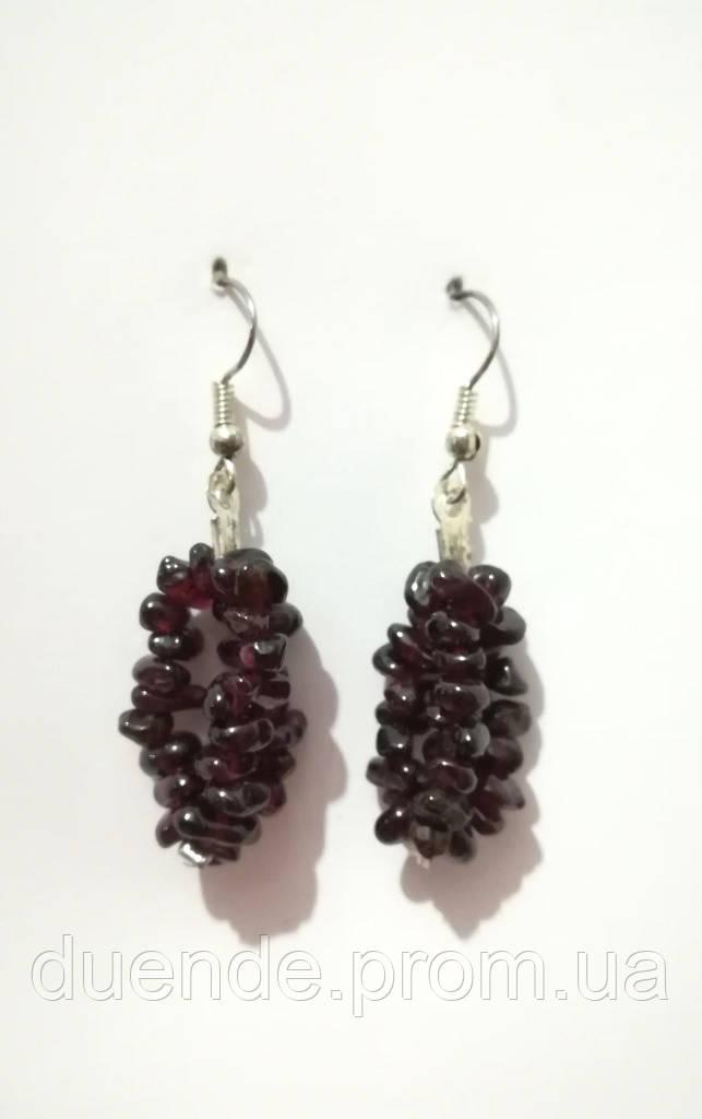 Сережки з Червоного Граната, натуральний камінь, колір бордо, тм Satori \ S - 0266