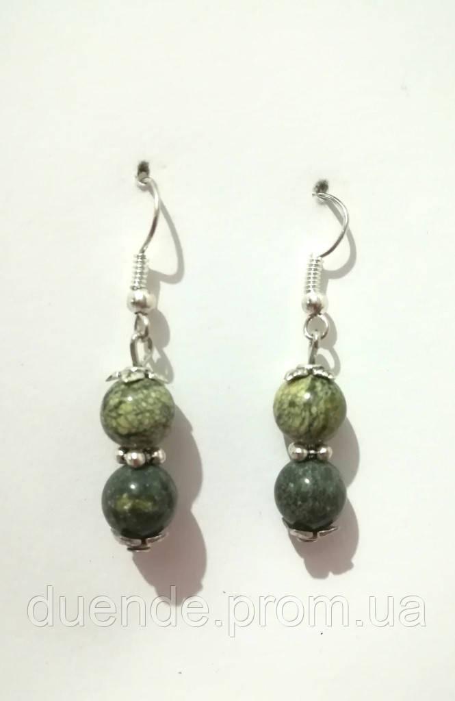 Серьги из Змеевика, натуральный камень, цвет зеленый и его оттенки, тм Satori \ S - 0271