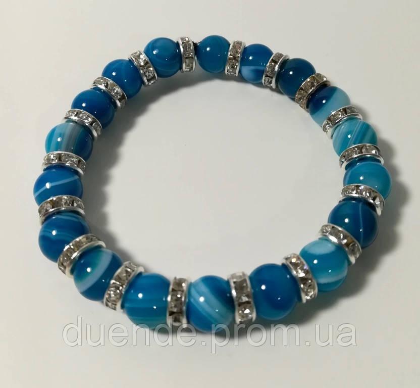 Браслет з Агата, натуральний камінь, синій колір і його відтінки з підвісками, тм Satori \ Sb - 0178