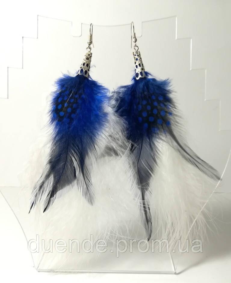 Серьги из перьев, цвет синий и белый, стильные серьги с перьями, тм Satori \ Sр - 012