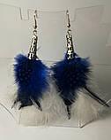 Серьги из перьев, цвет синий и белый, стильные серьги с перьями, тм Satori \ Sр - 012, фото 2