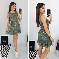 Шифоновое летнее короткое платье мини без рукава расклешенное от талии р-ры 44-48 арт.  666