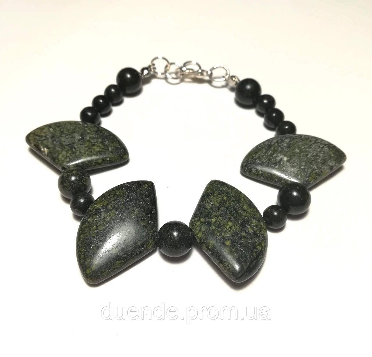 Браслет з Змійовика (Серпентин) натуральний камінь, зелений колір і його відтінки \ Sb - 0245