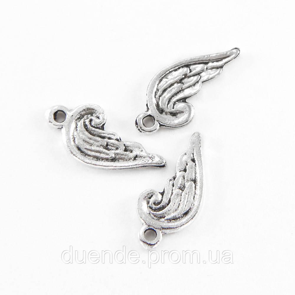 Підвіски для прикрас Крило античне срібло, розмір 20х8х1мм, 1 уп - 5 шт \ Sf - 020152