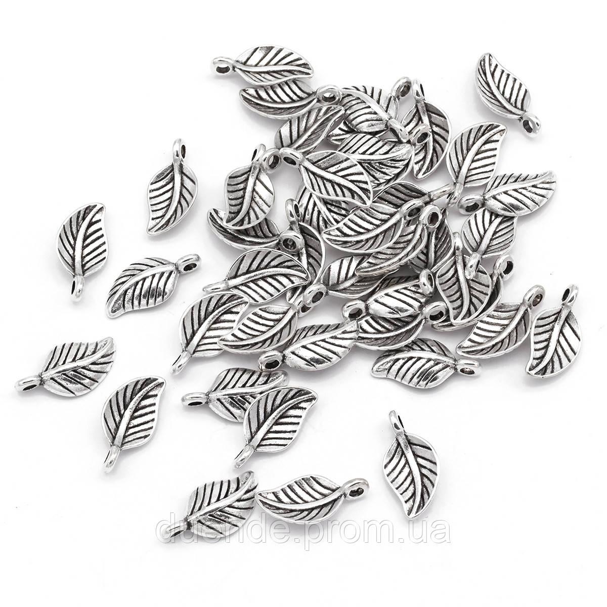 Подвески для браслетов Листики античное серебро, размер 14.5x7.5x4мм, 1 уп - 5 шт \ Sf - 020867